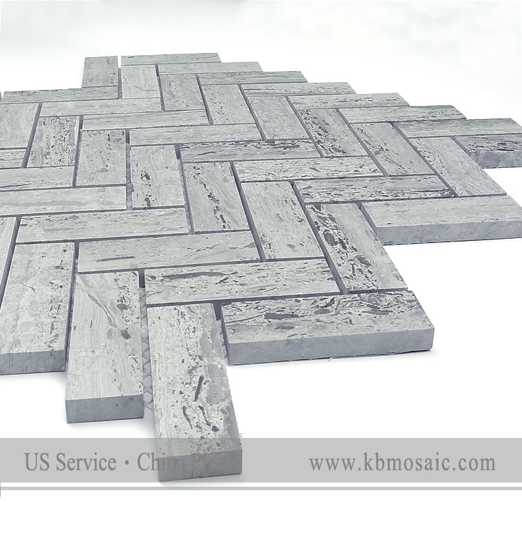 new material wooden blue marble mosaic tile manufacturer herringbone marble mosaic