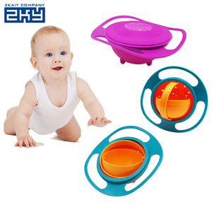 Practical 360 Rotating ABS Plastic Healthy Baby Kids Non Spill Feeding Toddler Saucer Bowl