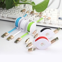 3 in 1 USB Cable Promotional Mobile Phone Data Charging Retractable