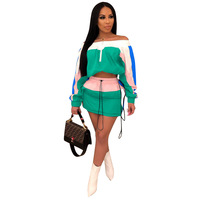 2019 New Arrivals Summer Women Slash Neck Off Shoulder Crop Short Skirts Drawstring Color Block Patchwork 2 Pieces Set Dress