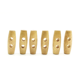 Handmade 30Mm Wooden Sew Toggle Buttons Natural Wood Coat Sheep Horn Button