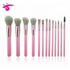Professional Whosale New Style 13 Pcs Glitter Cute Pink kabuki Makeup Brush Set for Girls