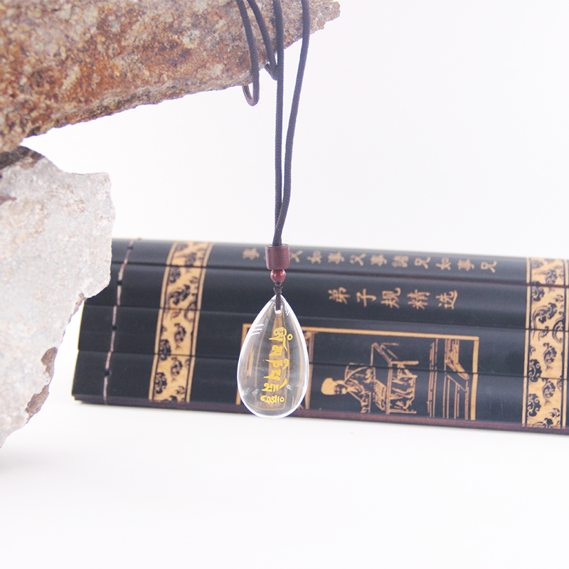 Kinds of crystal teardrop pendant with gold mantra and rope or crystal bead chain for unusual buddha gifts