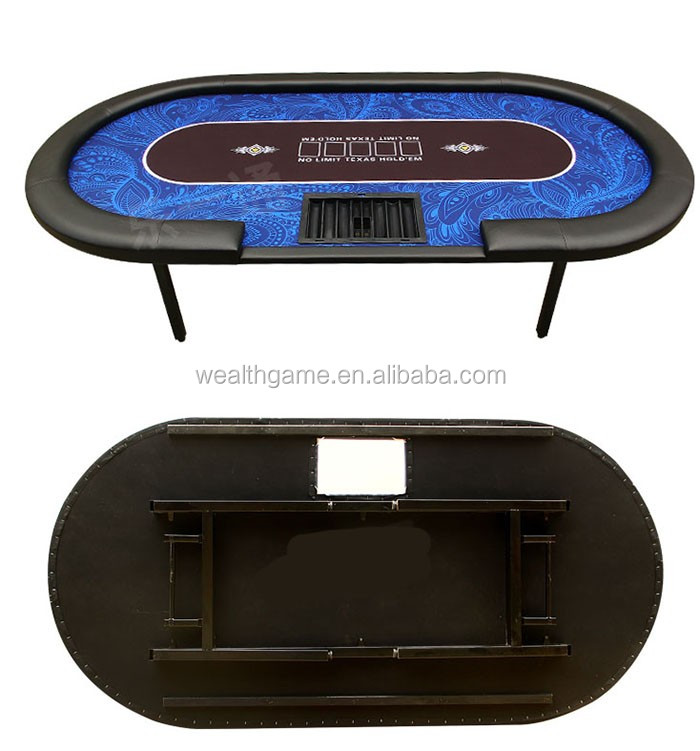 84 Inch Poker Table with Foldable Metal Leg