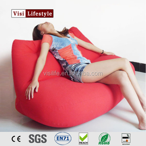 visi fabric comfortable red lip shape bean bag sofa