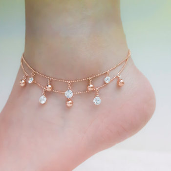 ball guides ktwo china at gold item real rose korean solid anklet k lucky red shopping birthday get quotations guide bells anklets female pic