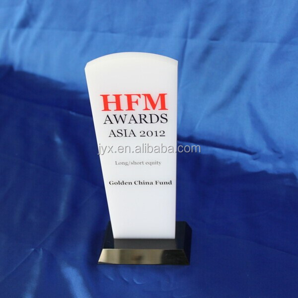 White Acrylic Award & Plaque Holder For Feats Souvenir Stand