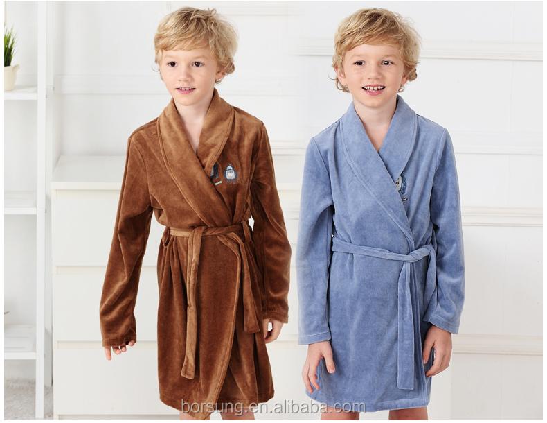 Factory Price Plain Kimono Robe Fashion Velvet Soft Boys Bathrobe ...