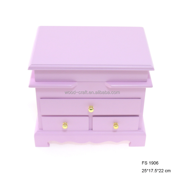 2015 Pink Cute Wooden Jewel Case Box for Jewelry Storage Box as Birthday Gift Dressing Case with Mirrored Jewelry Box