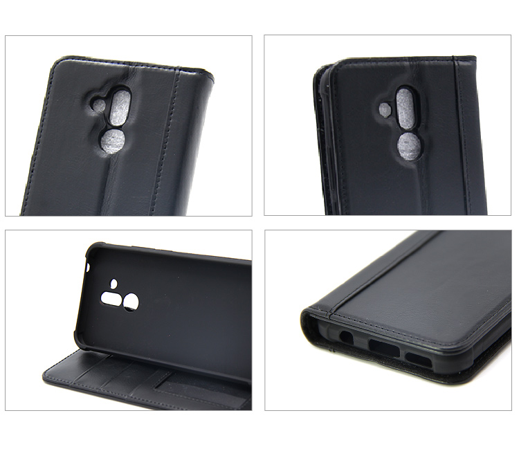EMF Factory Price Hot Sale Flip Cover Black shockproof leather mobile phone case with stand for Huawei Mate 20 Lite