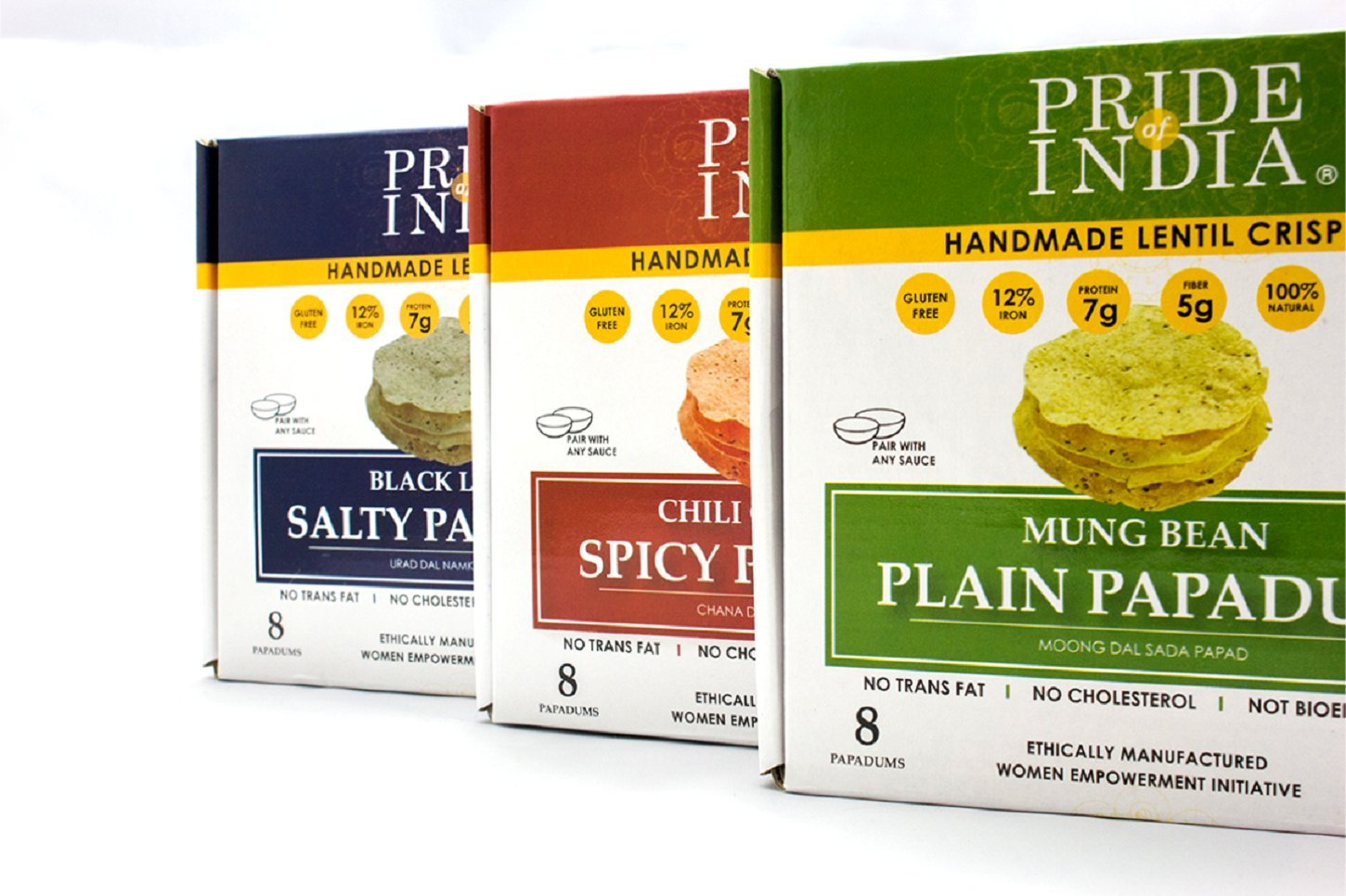 Pride Of India - Assorted Papadum Lentil Crisps - Plain, Salty & Spicy - Pack of 6 (2 Boxes per Flavor) - 3.53oz (100gm) per 8-Count Box - Lentil Chips, Gluten-Free Crackers, Healthy Indian Snack