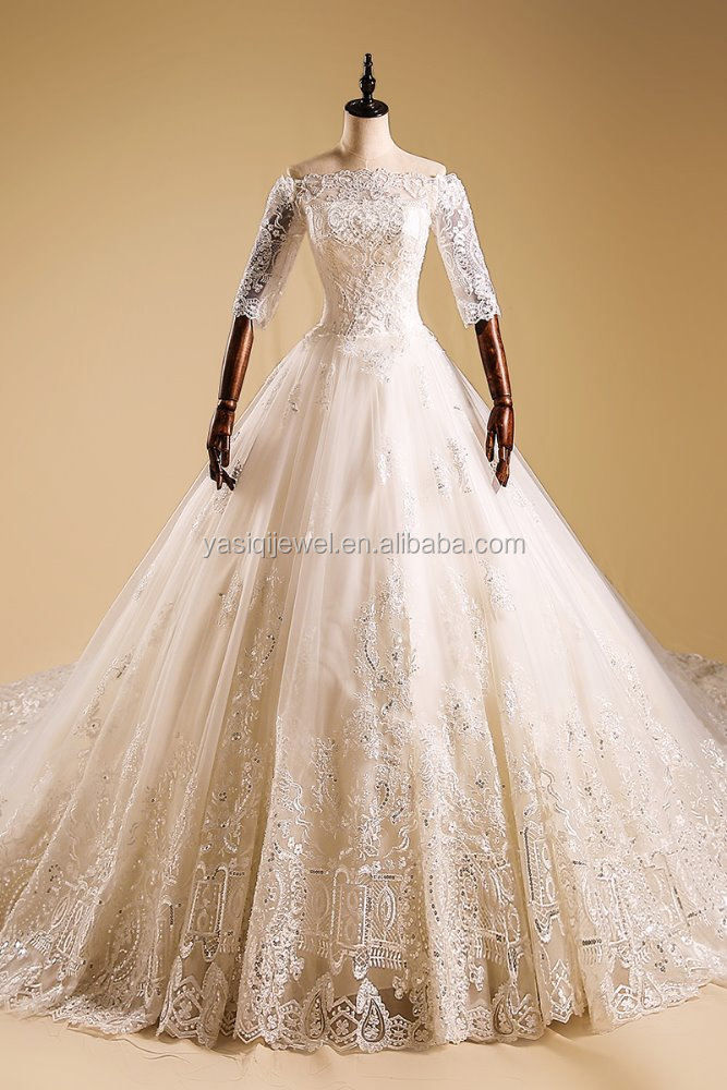 Latest Style High Quality Off Shoulder Ball Gown Wedding Dress