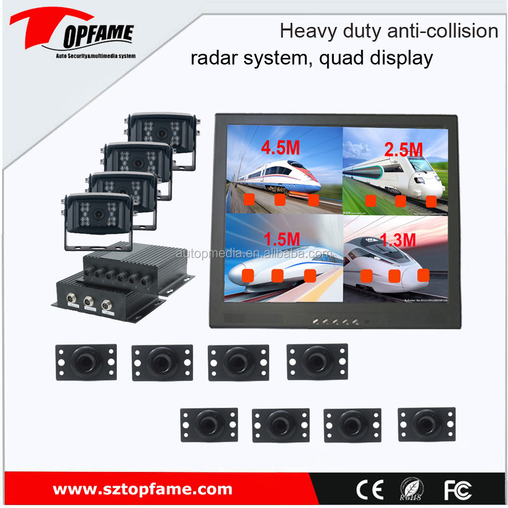 OEM anti-collision radar system with 4 camera and quad display