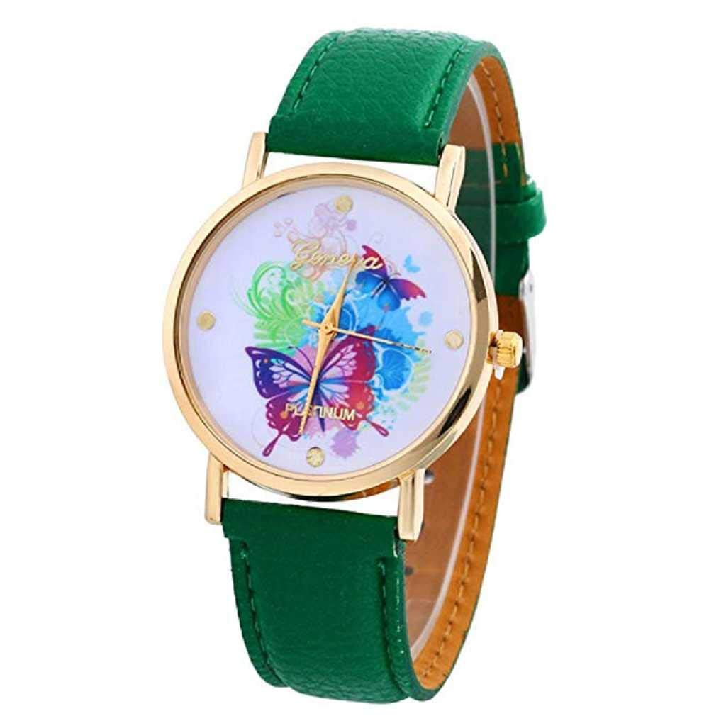 Clearance Sale! Womens Watches,ICHQ Butterfly Watches for Women, Unique Analog Fashion Lady Watches Female watches on Sale Casual Wrist Watches for Women Comfortable PU Leather Watch (Dark green)