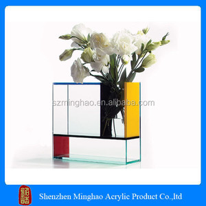 2016 Hot selling clear acrylic square vases / rectangle acrylic table vases