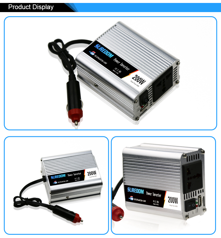 Suredom Car 200W 12V DC AC110V 220V mico  power inverter  converter  1 USB