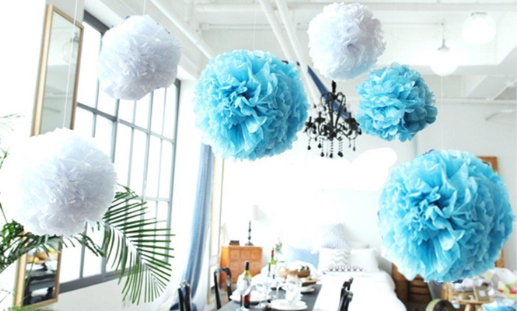 Buy 12pcs Mixed 3 Sizes White Blue Pom Poms FlowerDerker Fiesta Pom