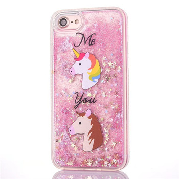 2017 hot selling mobile phone accessories for iphone 6 case cute unicorn glitter liquid case for iphone 6 6s plus