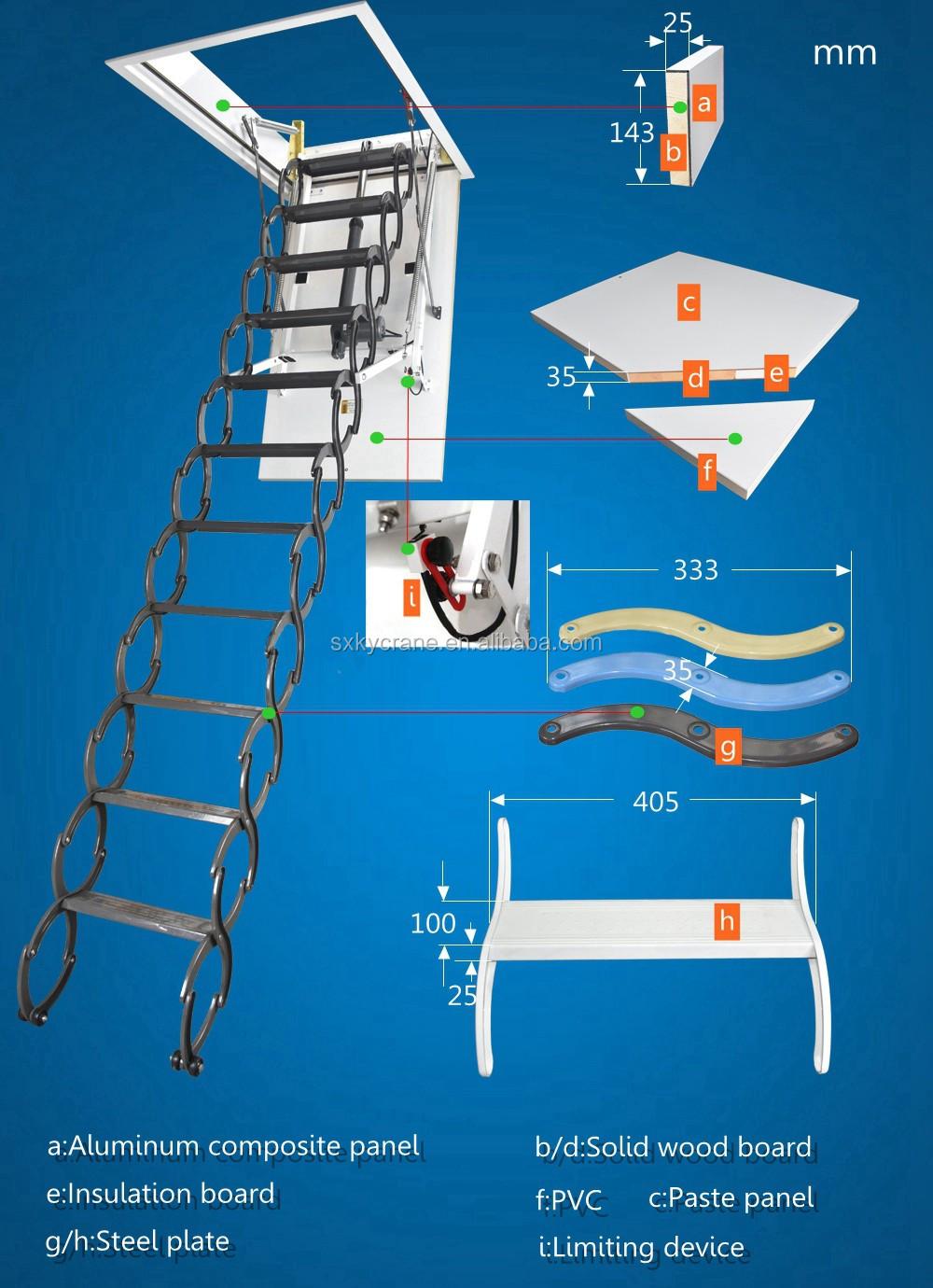 Aluminum Folding Attic Ladder With Handrail Buy Loft