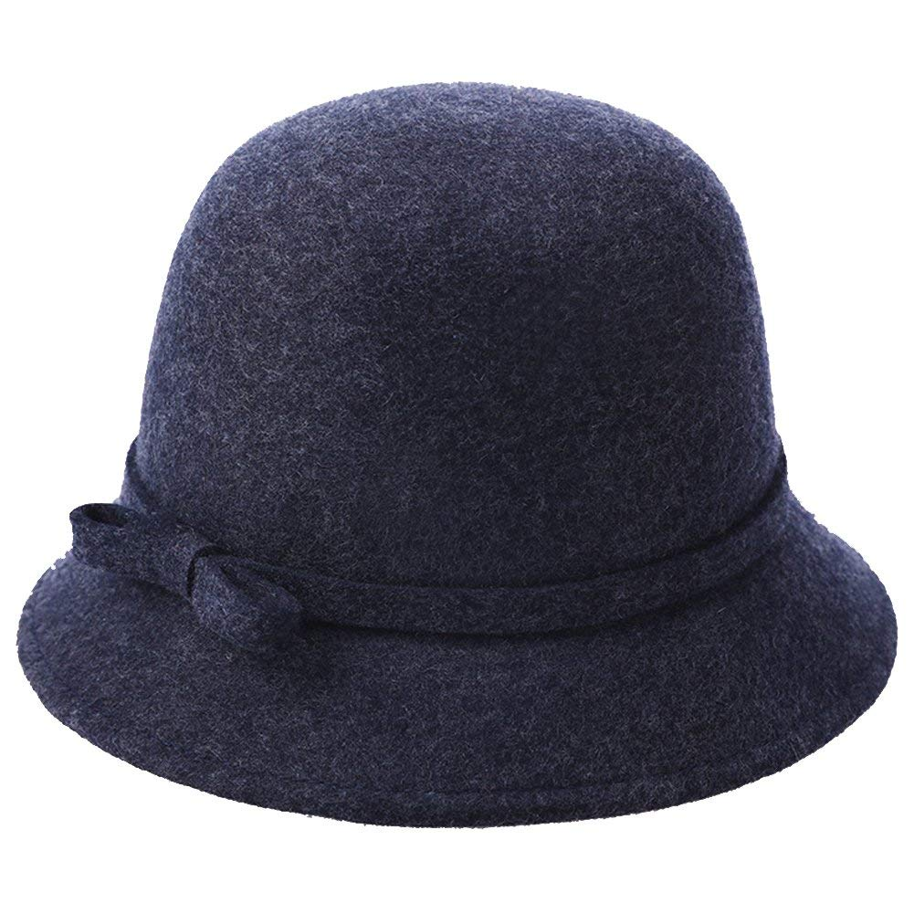 Ladies Classic Wool Felt Round Top Fedora Cloche Bucket Top Hat Cap Bowknot Band