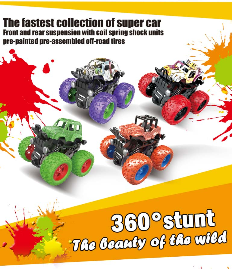 Child stunt inertia truck set friction 360 racing plastic drift mini small kids toy car