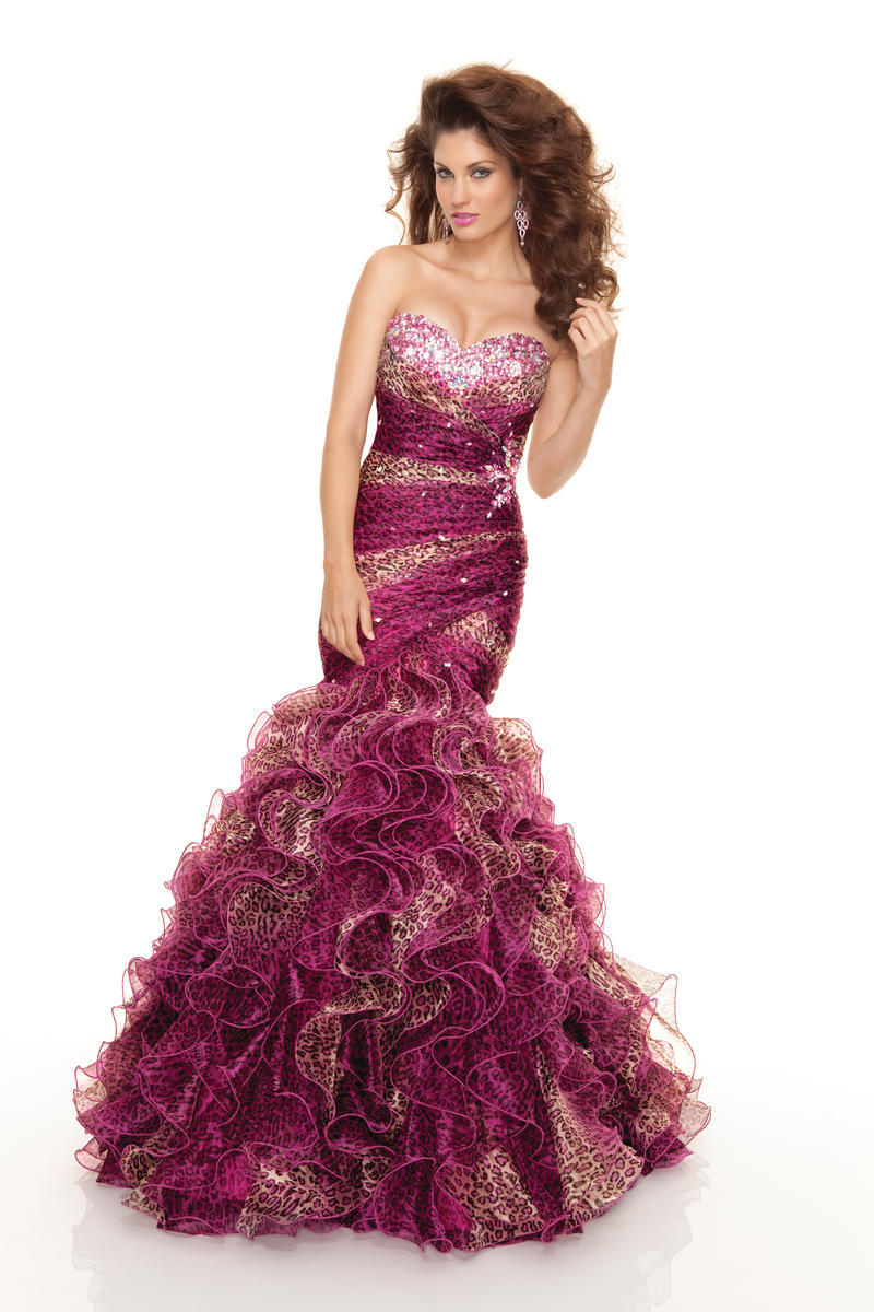 Get Quotations Women Formal Dress Leopard Printed Organza Ruffles Mermaid Evening Gown With Beading Robe De Soiree
