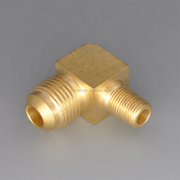"Brass Tube Fitting, 90 Degree Elbow, 1/2"" Flare x 3/8"" Male Pipe"