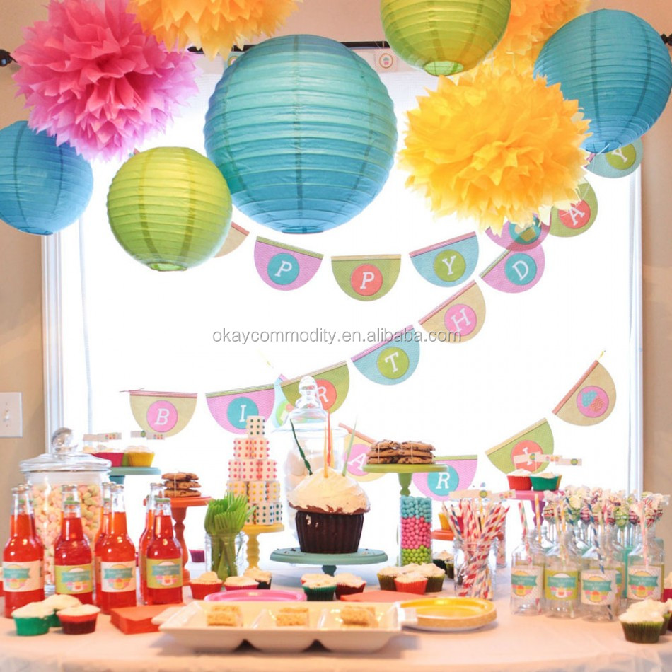 Birthday party backdrop tissue paper pom poms product on alibaba com - Party Wedding Decoration Tissue Paper Pom Poms