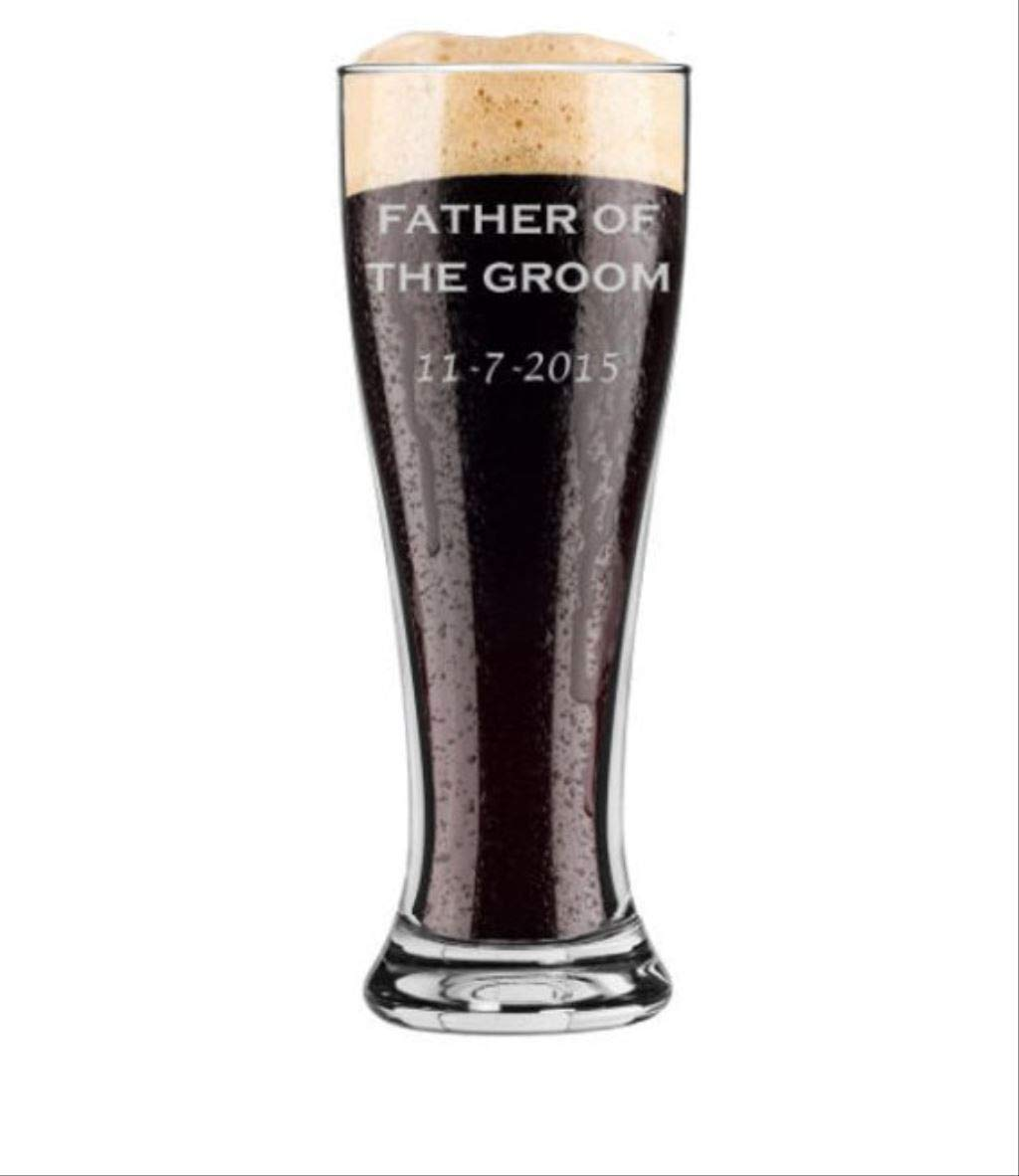 Father of the Groom - Pilsner 16 oz Pint Beer Glass - Choice of Date - Personalized Custom Engraved - Bridal Party, Wedding Gift