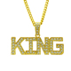 Fashion charm jewelry hiphop crystal letters K I N G pendant necklace