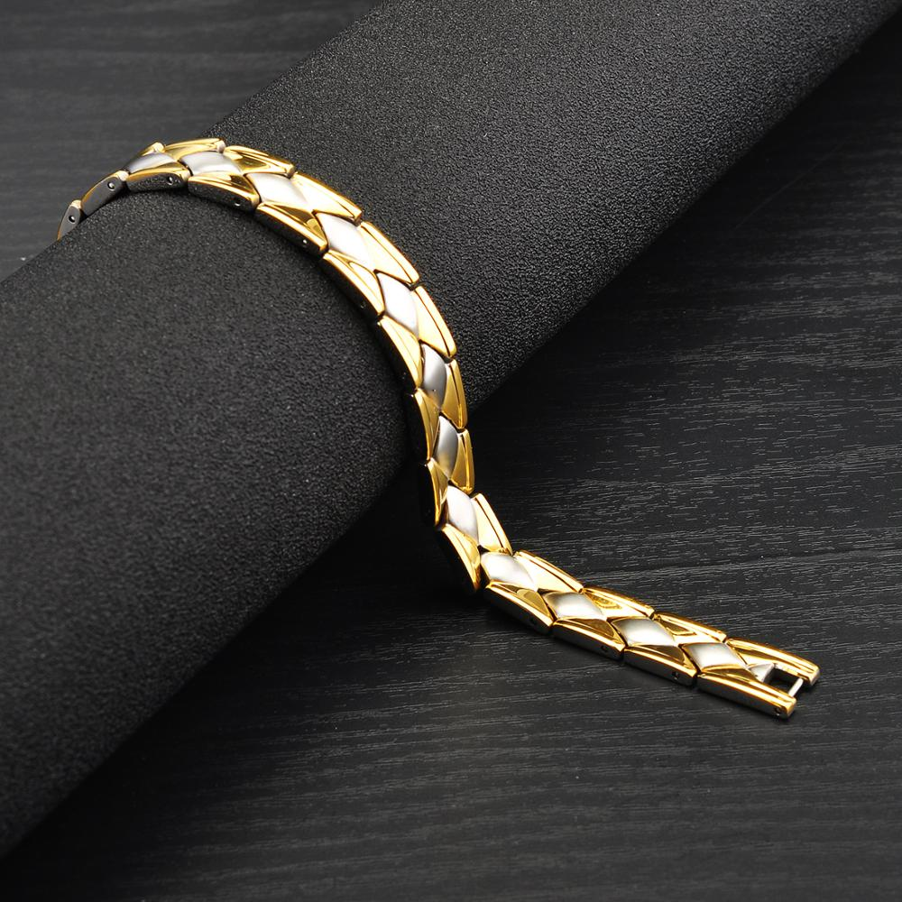 High Quality Two Tone Silver Gold Stainless Steel Magnetic Benefit Bracelet Health