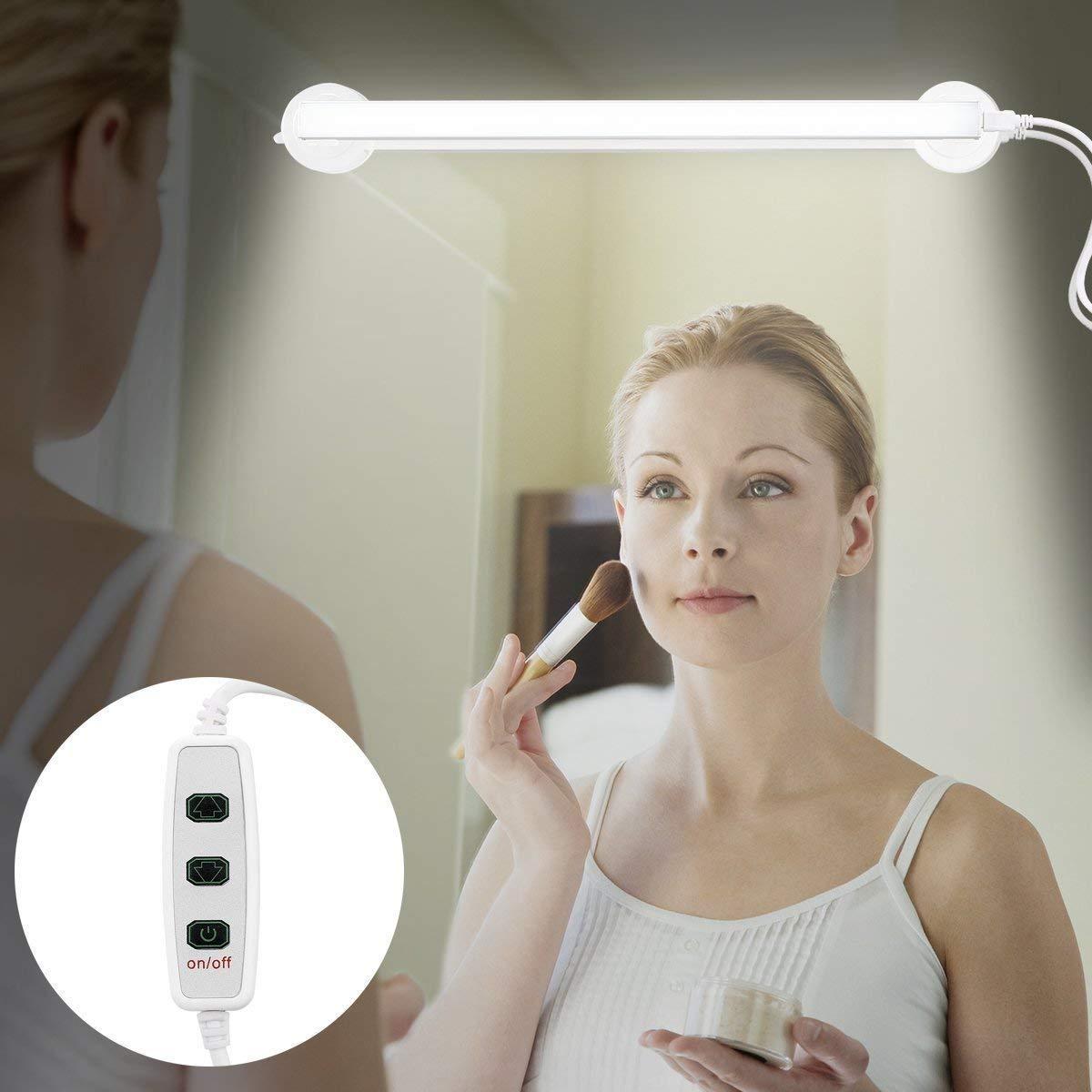 LED Vanity Mirror Light, YUJINQ Portable Vanity Light Mirror Makeup Light Bathroom Lighting Kit with Brightness Infinite Adjustable, Cable Controller, 360 Degree Rotation and USB Powered Cosmetic Lamp