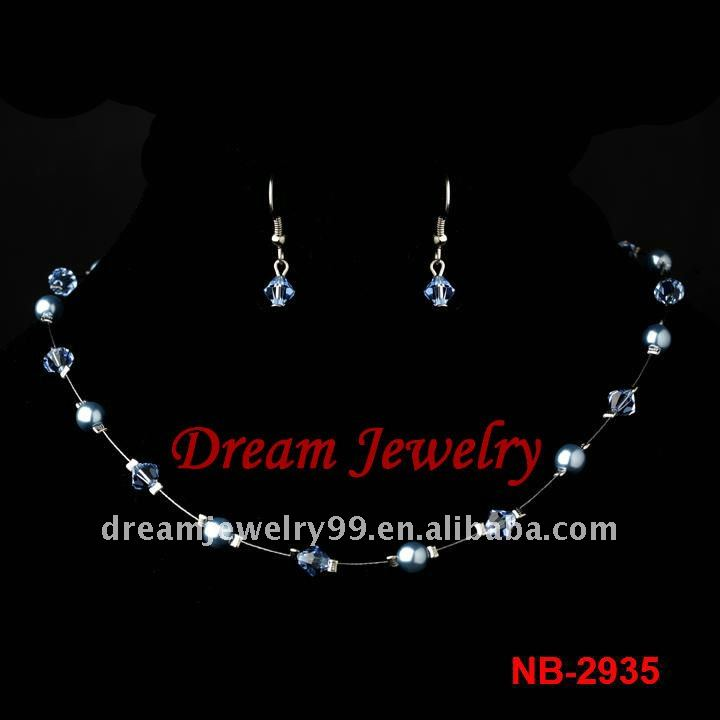 The good bule diamond jewlery set for comely girl
