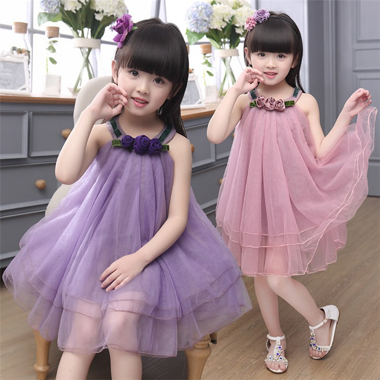 9acc2c403a68 New Summer Dress Indian Style Baby Girls Flower Dresses Fashion Net Frocks  Design Wholesale Girl Dress