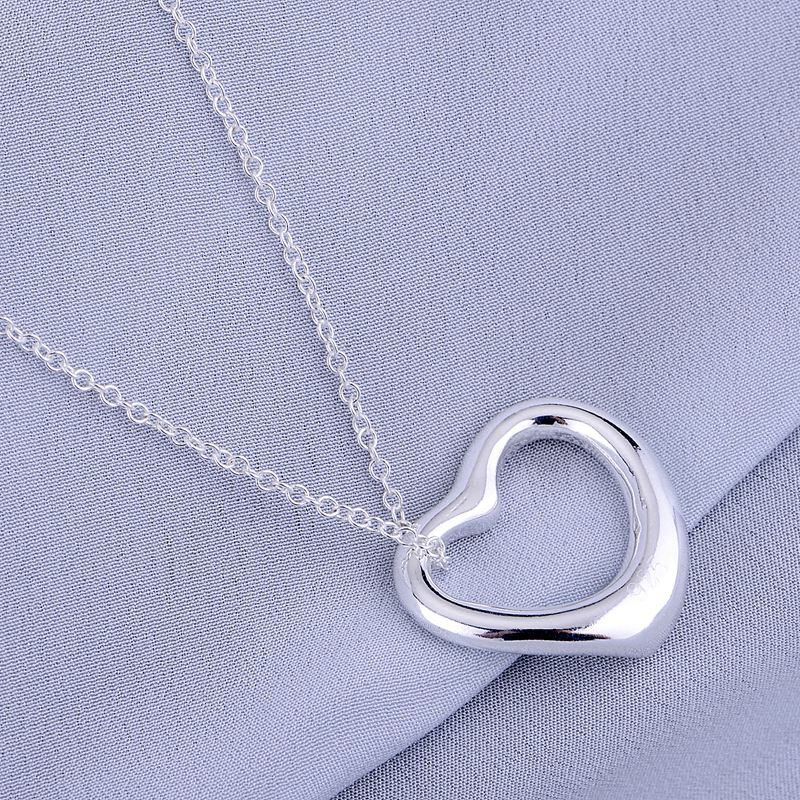 Cordiform Shiny Light Silver Plated Necklace Sterling Silver Jewelry Silver Pandant Fashion