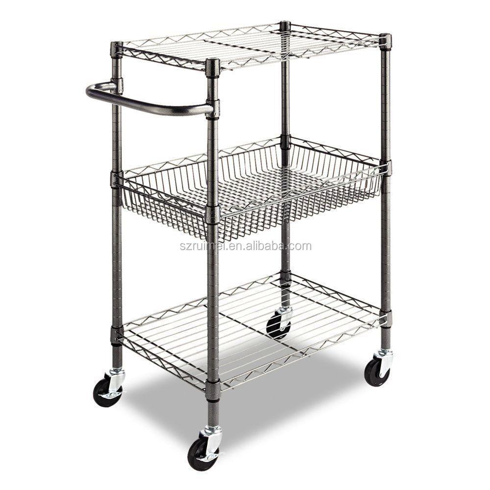 Utility Kitchen Island Cart 3-tier Wire Storage Rack Microwave Stand ...