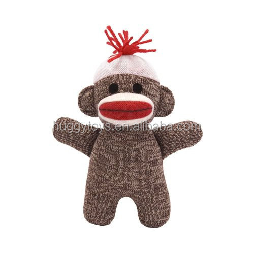 custom Original mohawk Sock Monkey Knitted Puppet Present Stuffed Animal Plush toys Baby Doll