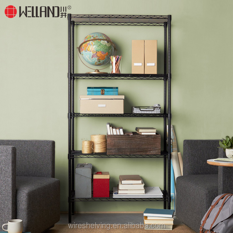 DIY Eco-Friendly Feature Black 5 Tiers Light Duty Adjustable Metal Wire Book Shelf Rack
