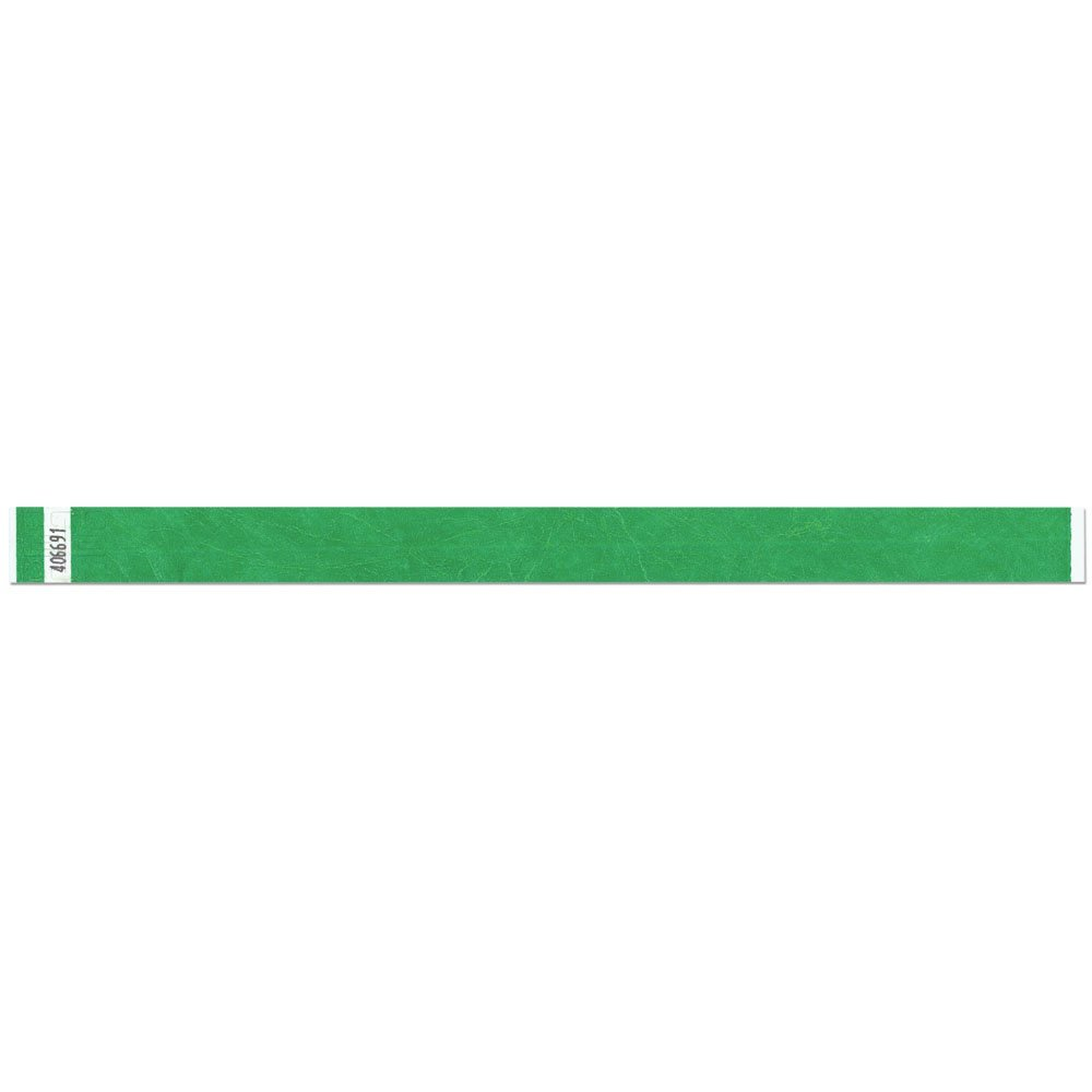 3/4 Inch Tyvek Tytan-Band® Wristbands - Economical Comfortable Tear Resistant - Kelly Green - 500 Pieces Per Box