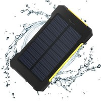 Bulk cheap high capacity 5V 2A 10000Mah solar powerbank 10000Mah portable mobile phone charger with LED light powerbank
