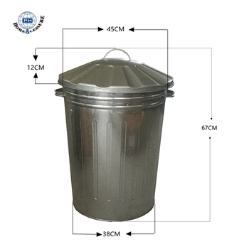 Hot 75l Galvanized Metal Garden Garbage Can With Side Drop Handles