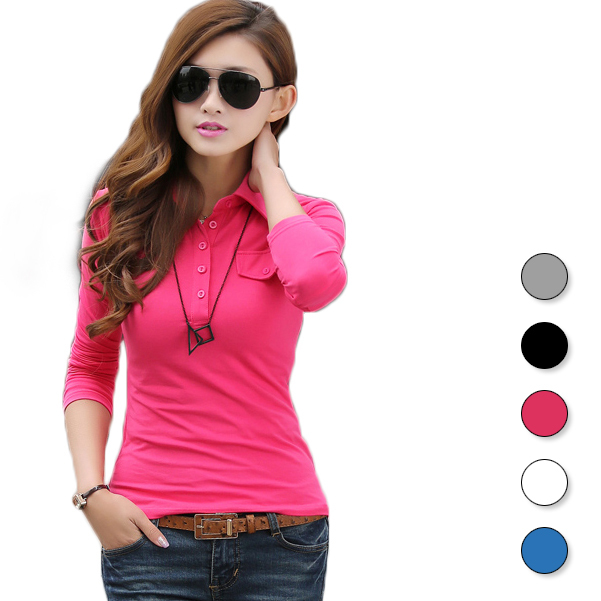 2015 Summer Style Fashion Solid Casual Polo Ralph Women Long Sleeve Lady Polo Shirt Slim Fit Womens Golf Female WZTXPO009