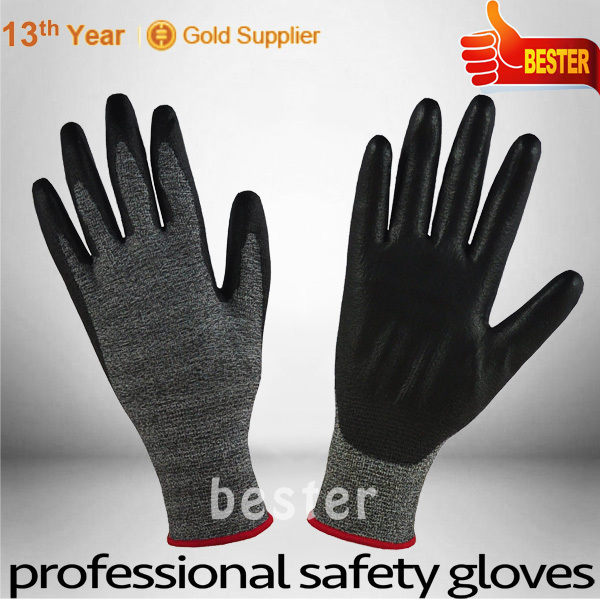 18G HPPE Cut Resistance Glove with Black Pu Coating