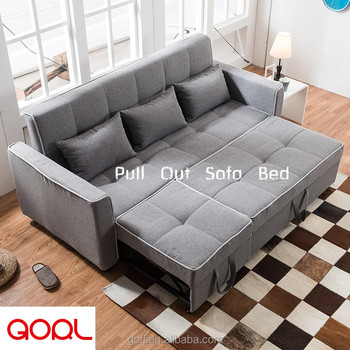 Modern 2 In 1 Foldable Transformer Grey Fabric Sofa Bed Futon Couch