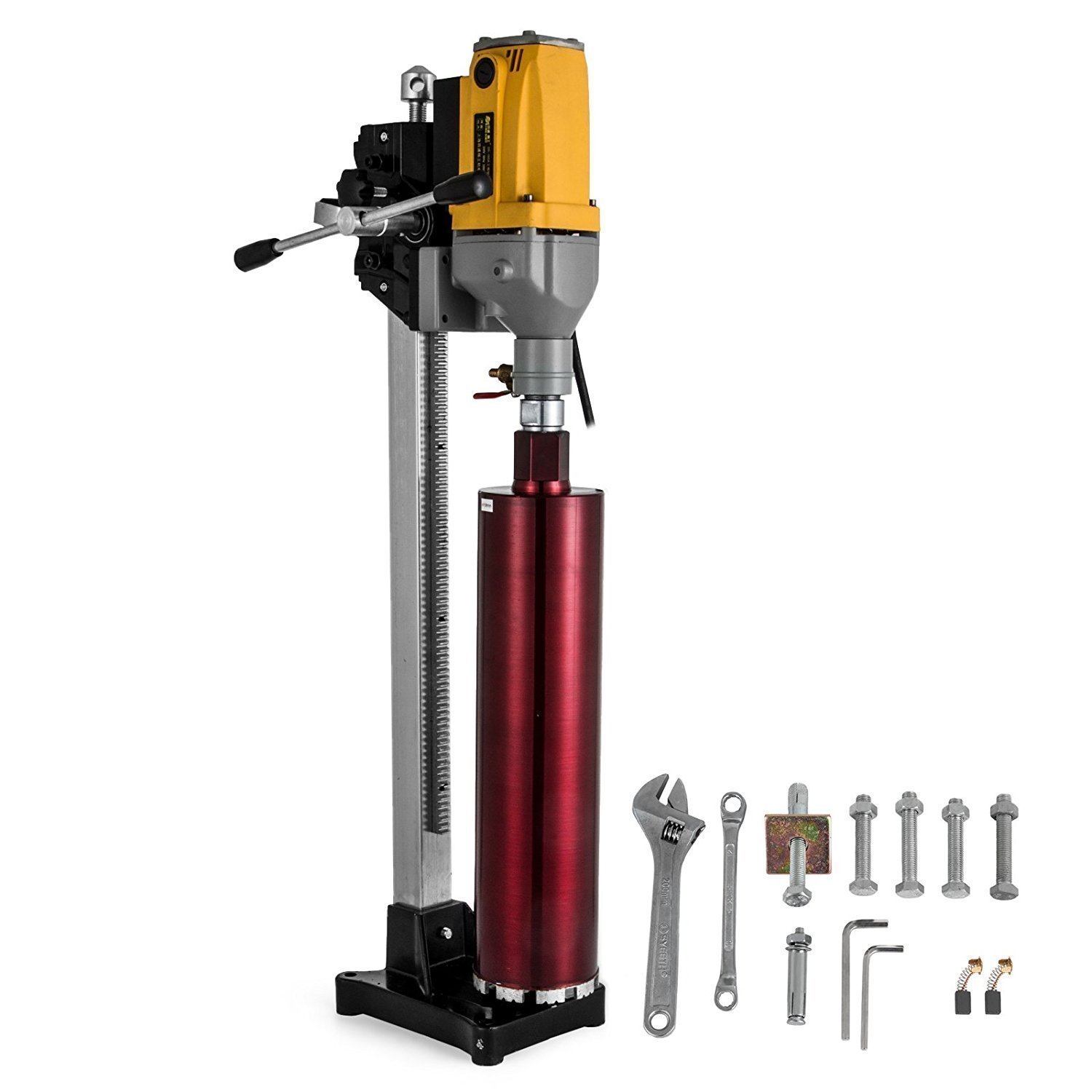 """Happybuy Diamond Drilling Machine 6"""" 160MM Drilling Capacity 110V Diamond Core Drill Rig Diamond Core Drilling Machine with Drill Bit for Wet Dry Concrete Brick Block (160MM) (6IN)"""