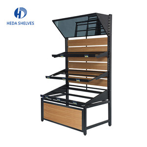 Shelf supermarket display rack for vegetable fruit, shop metal display shelf