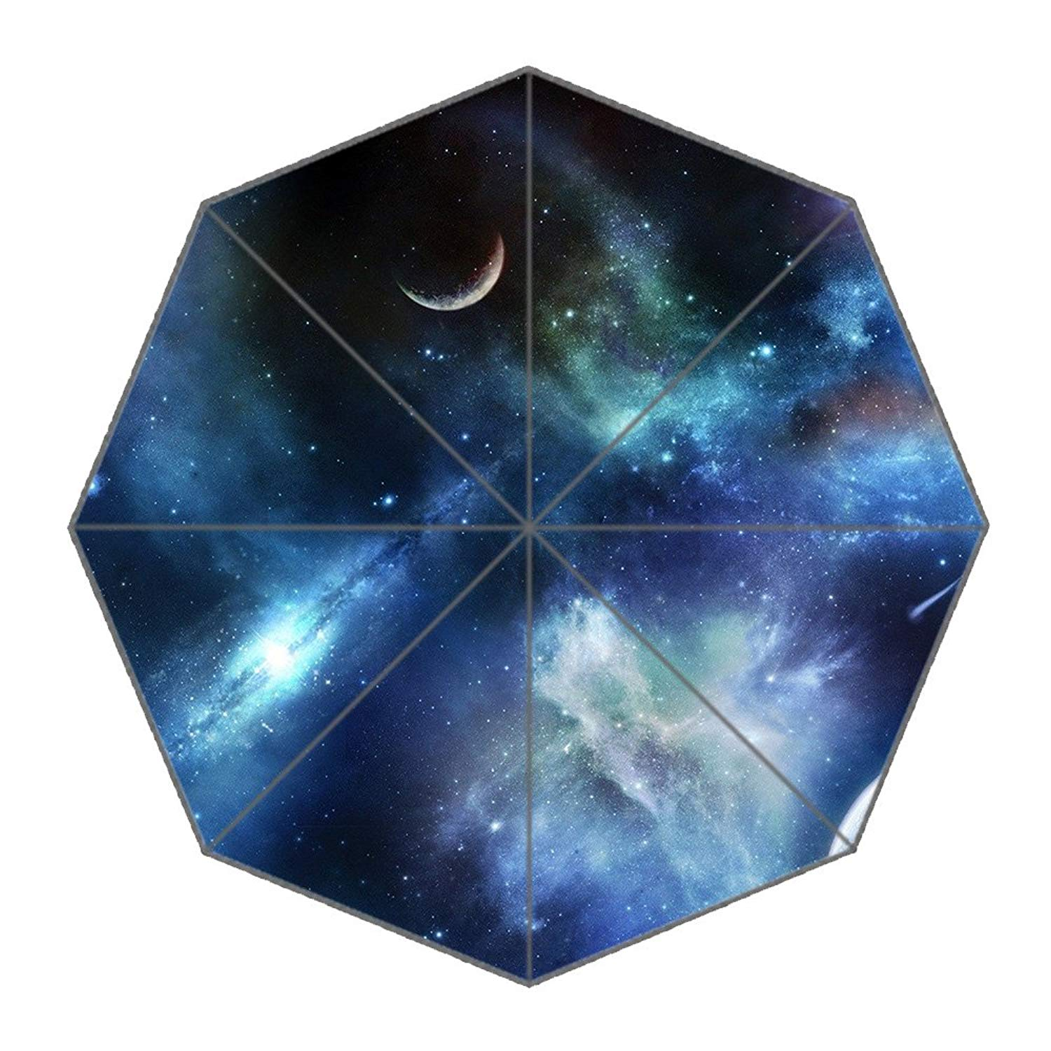 Space Galaxy Automatic Tri-Fold Umbrella Parasol Sun Umbrella Sunshade