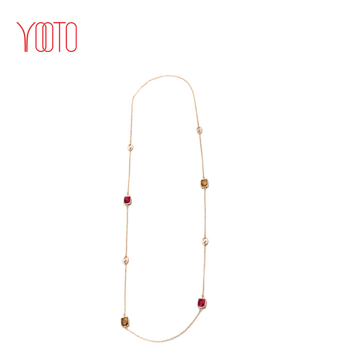 Topaz quartz multi gemstone gold long necklace chain