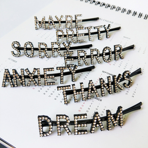 18 word bobby pin,rhinestone letter hair pin,women hair accessories(EJ1760)