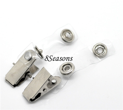 Wholesale 100PCs Silver Tone Metal ID Card Badge Clear Clips For Cards